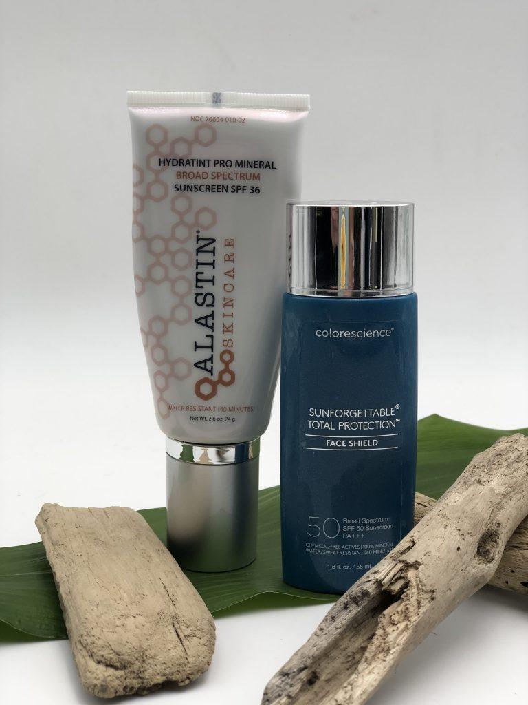 Alastin Sunscreen and colorescience Face Shield